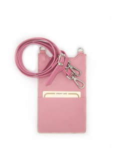 Cell Phone Holder in Nappa leather Pink/Heart+Hooks Silver
