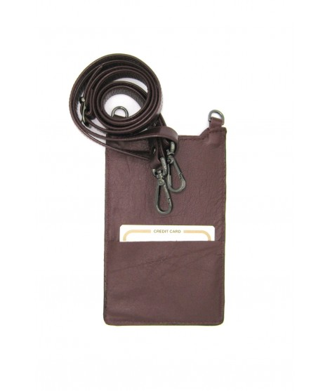 Cell Phone Holder in Nappa leather Bordeaux/Star+Hooks