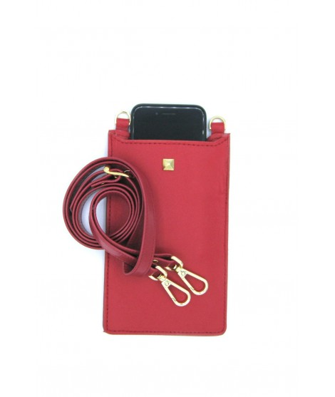 Cell Phone Holder in Nappa leather Red/Stud+Hooks Gold