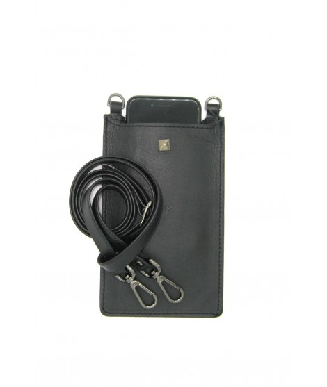 Cell Phone Holder in Nappa leather Black/Stud+Hooks Anthracite