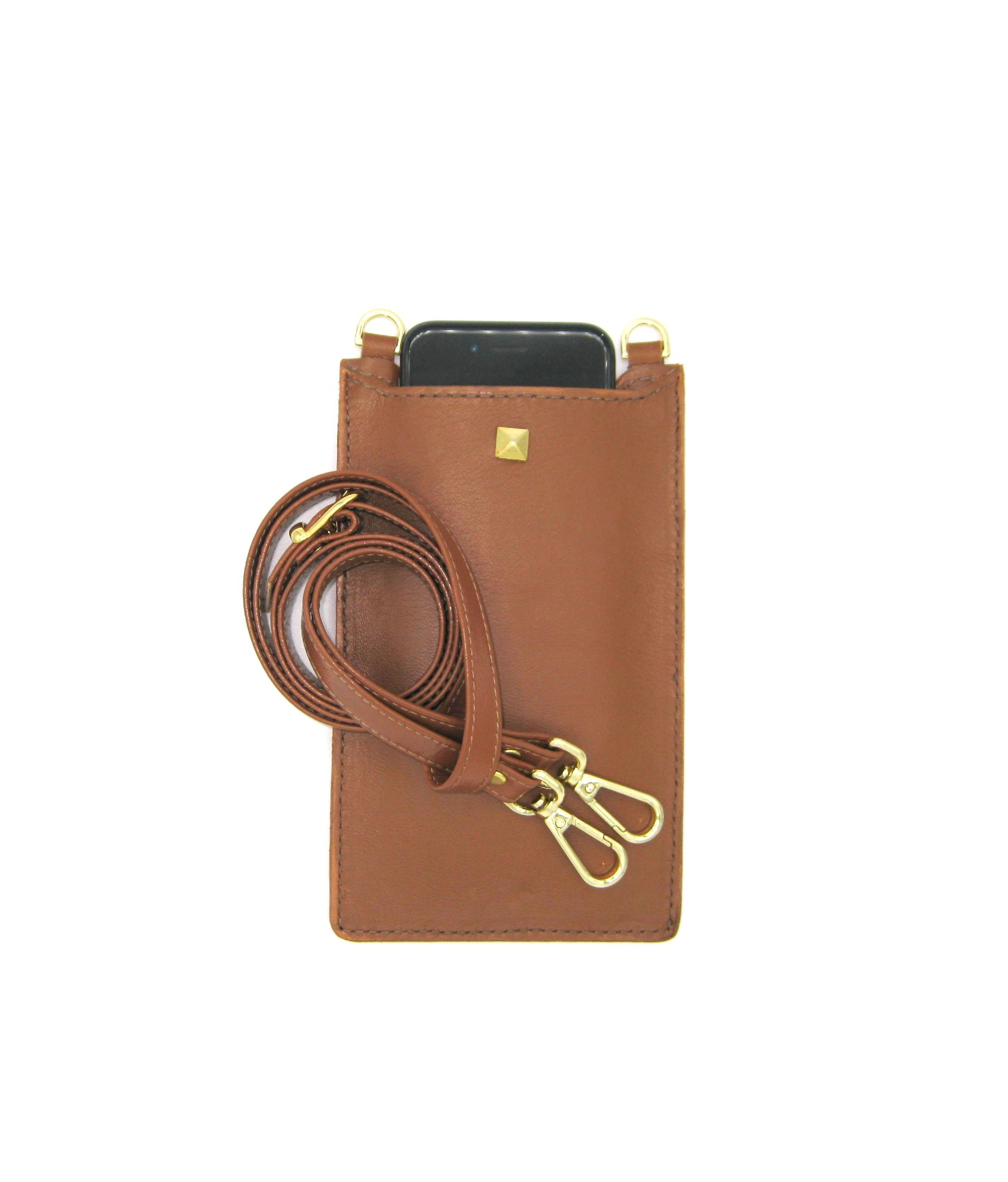 Cell Phone Holder in Nappa leather Tan/Stud+Hooks Gold