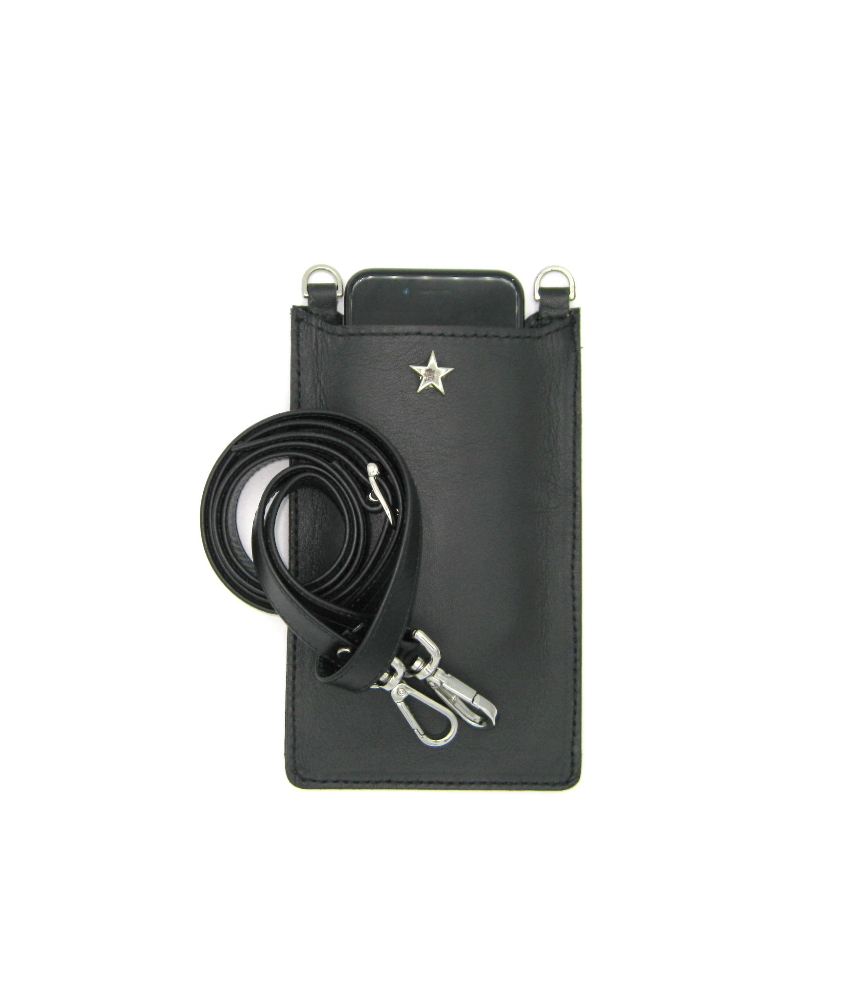 Cell Phone Holder in Nappa leather Black/Star+Hooks Silver