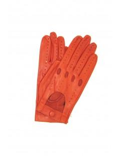Driving gloves in Nappa Leather Dark Orange Sermoneta Gloves