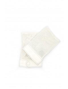 Gloves in perforated Nappa unlined fingerless White Sermoneta
