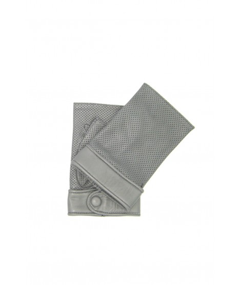 Gloves in perforated Nappa unlined fingerless Pearl grey
