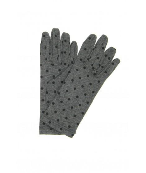 Cotton gloves with Polka Dots Grey/Pois Black Sermoneta Gloves