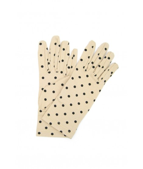Cotton gloves with Polka Dots Beige/Pois Black Sermoneta Gloves