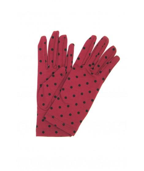 Cotton gloves with Polka Dots Dark Red/Pois Black Sermoneta