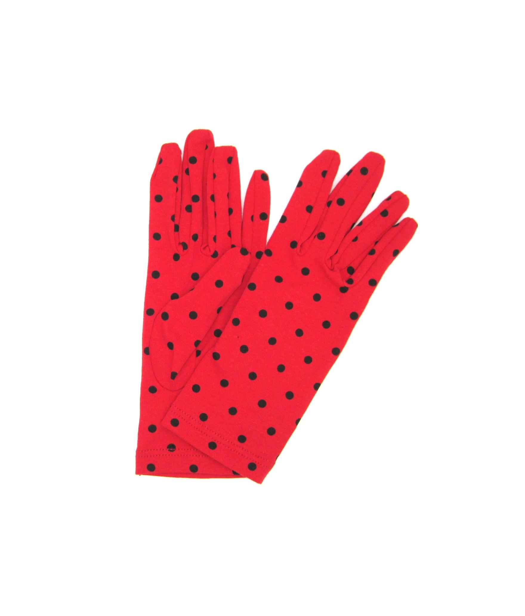 Cotton gloves with Polka Dots Cherry Red/Pois Black Sermoneta