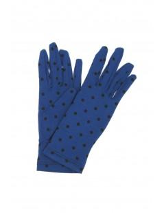 Cotton gloves with Polka Dots Blu Royal/Pois Black Sermoneta