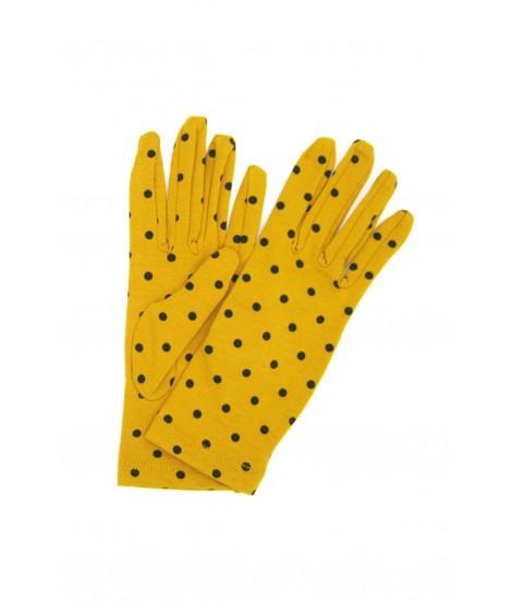 Cotton gloves with Polka Dots Ocra Yellow/Pois Black Sermoneta