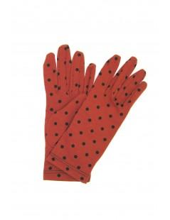 Cotton gloves with Polka Dots Dark Orange/Pois Black Sermoneta