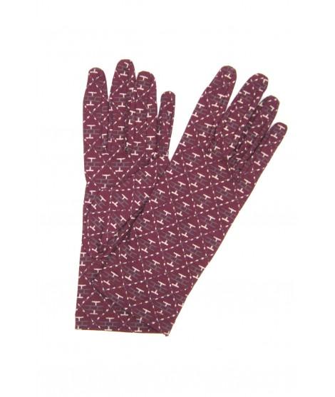 Cotton gloves small bricks print Bordeaux Sermoneta Gloves
