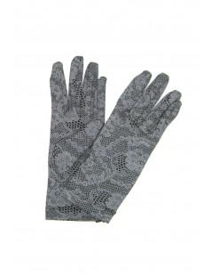 Cotton gloves with lace print Black Sermoneta Gloves Leather