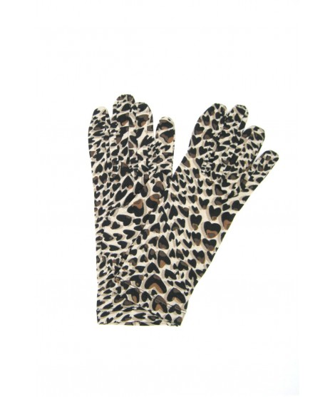Viscose gloves Spotted heart print Beige Sermoneta Gloves