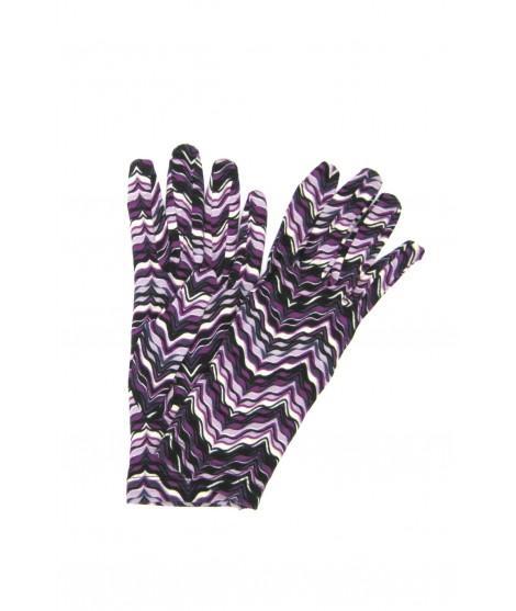 Viscose gloves Wave print Purple Sermoneta Gloves Leather
