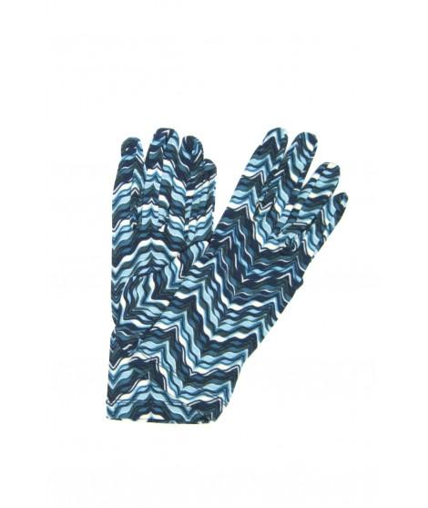 Viscose gloves Wave print Navy Sermoneta Gloves Leather
