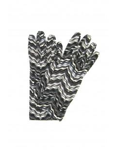 Viscose gloves Wave print Dark Brown Sermoneta Gloves Leather