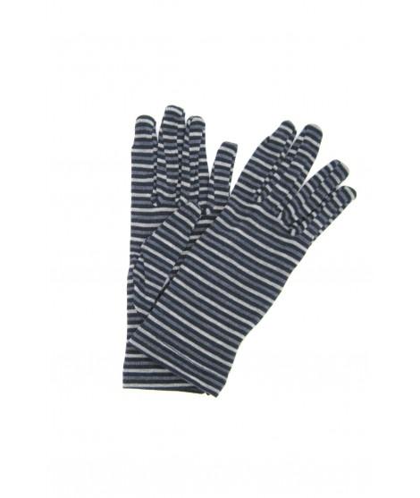 Viscose gloves, print small Lines Navy Sermoneta Gloves Leather