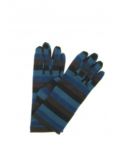 Viscose gloves, print Lines Multicolor Sermoneta Gloves Leather