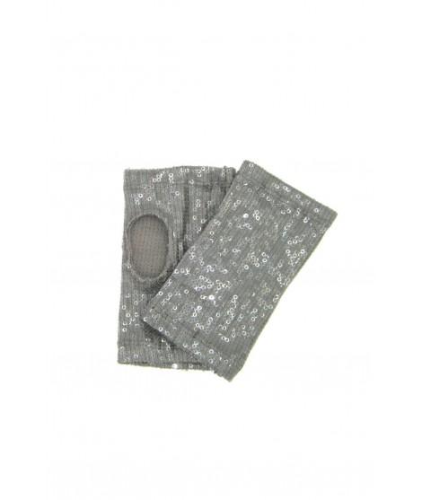 Half Mitten with Sequins Grey Sermoneta Gloves Leather