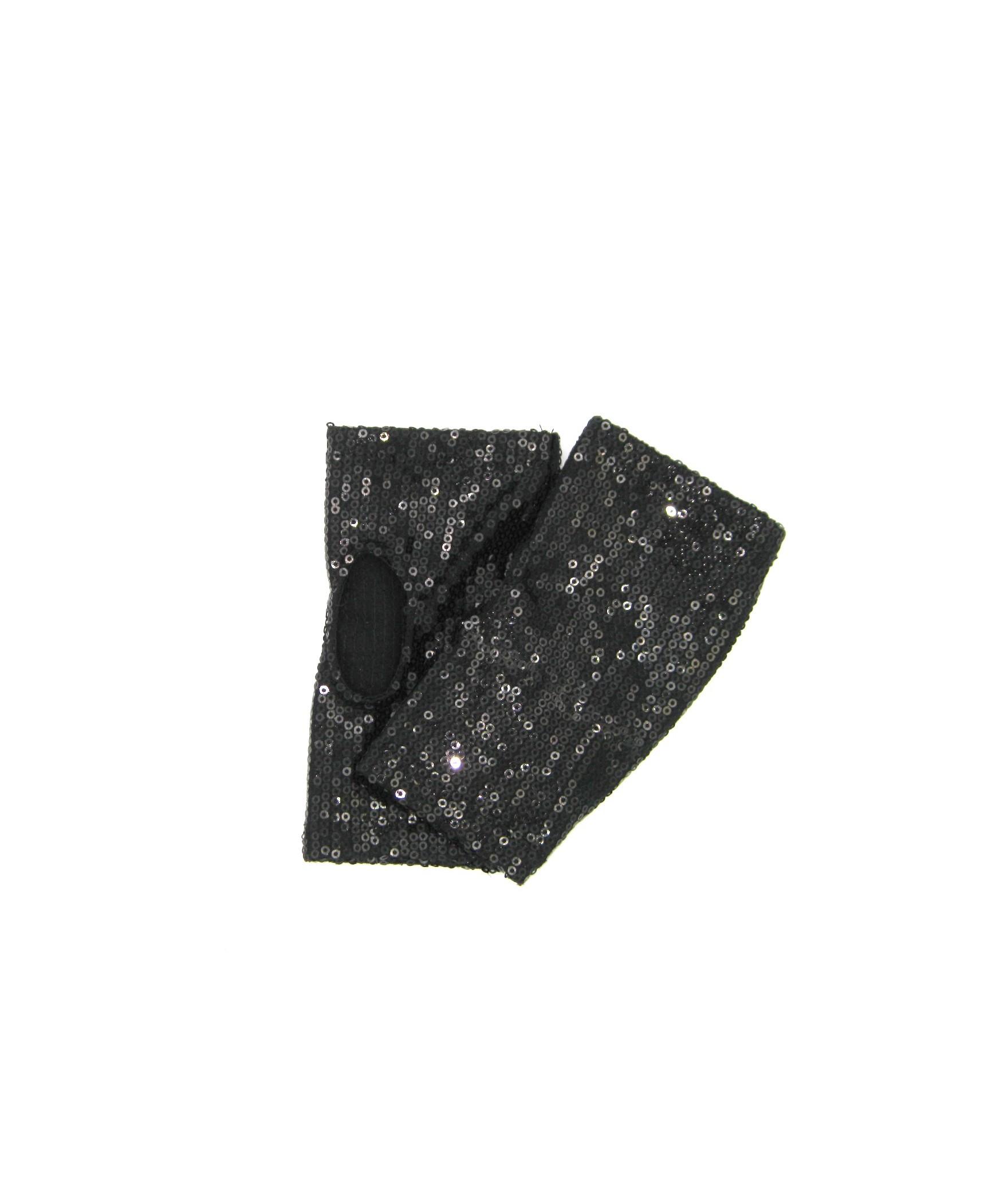 Half Mitten with Sequins Black Sermoneta Gloves Leather