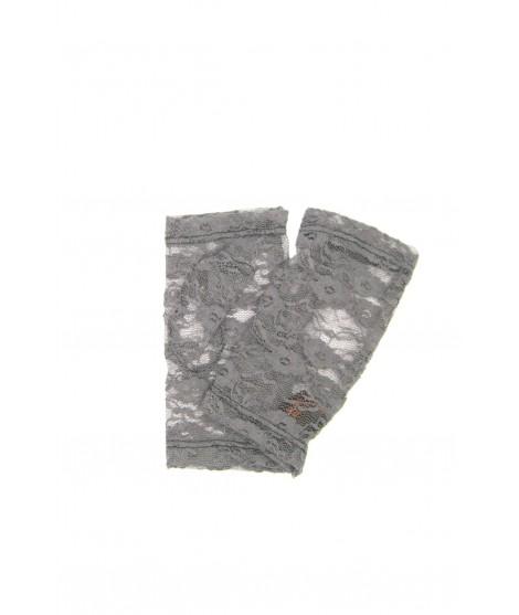 Half Mitten in Lace, Flower embroidery Grey Sermoneta Gloves