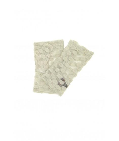 Half Mitten in Lace, Polka Dots embroidery Beige Sermoneta
