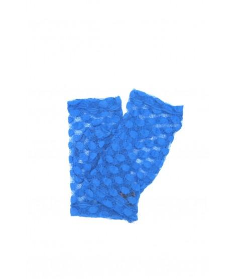 Half Mitten in Lace, Polka Dots embroidery Blu/Royal Sermoneta