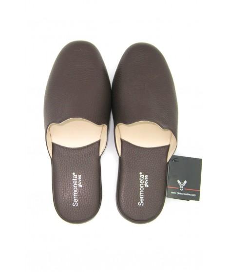 Deerskin Men's Slippers Brown Sermoneta Gloves Leather