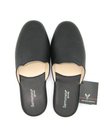 Deerskin Men's Slippers Black Sermoneta Gloves Leather