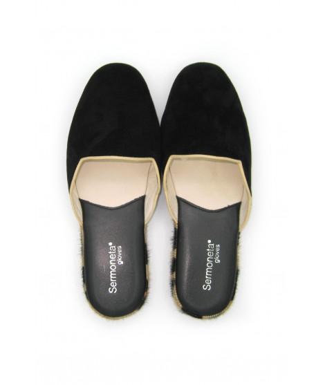 Women's Slippers in Suede with Fur edge Black/Leopard Sermoneta