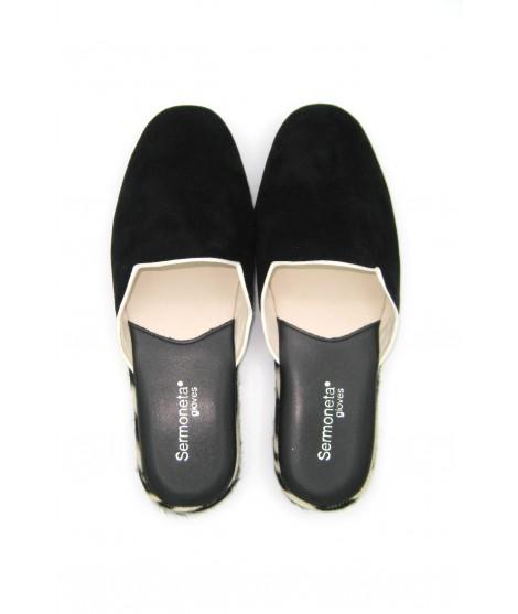 Women's Slippers in Suede with Fur edge Black/Zebra Sermoneta