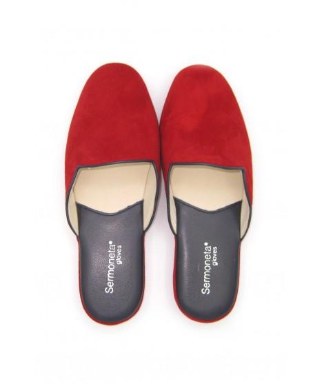 Women's Slippers in Suede, Bicolor Red/Purple Sermoneta Gloves