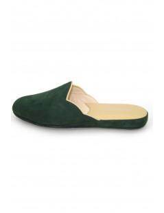 Women's Slippers in Suede, Bicolor Green/Beige Sermoneta Gloves
