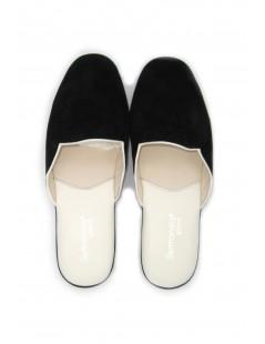 Women's Slippers in Suede, Bicolor Black/White Sermoneta Gloves