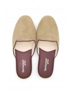 Women's Slippers in Suede, Bicolor Taupe/Bordeaux Sermoneta
