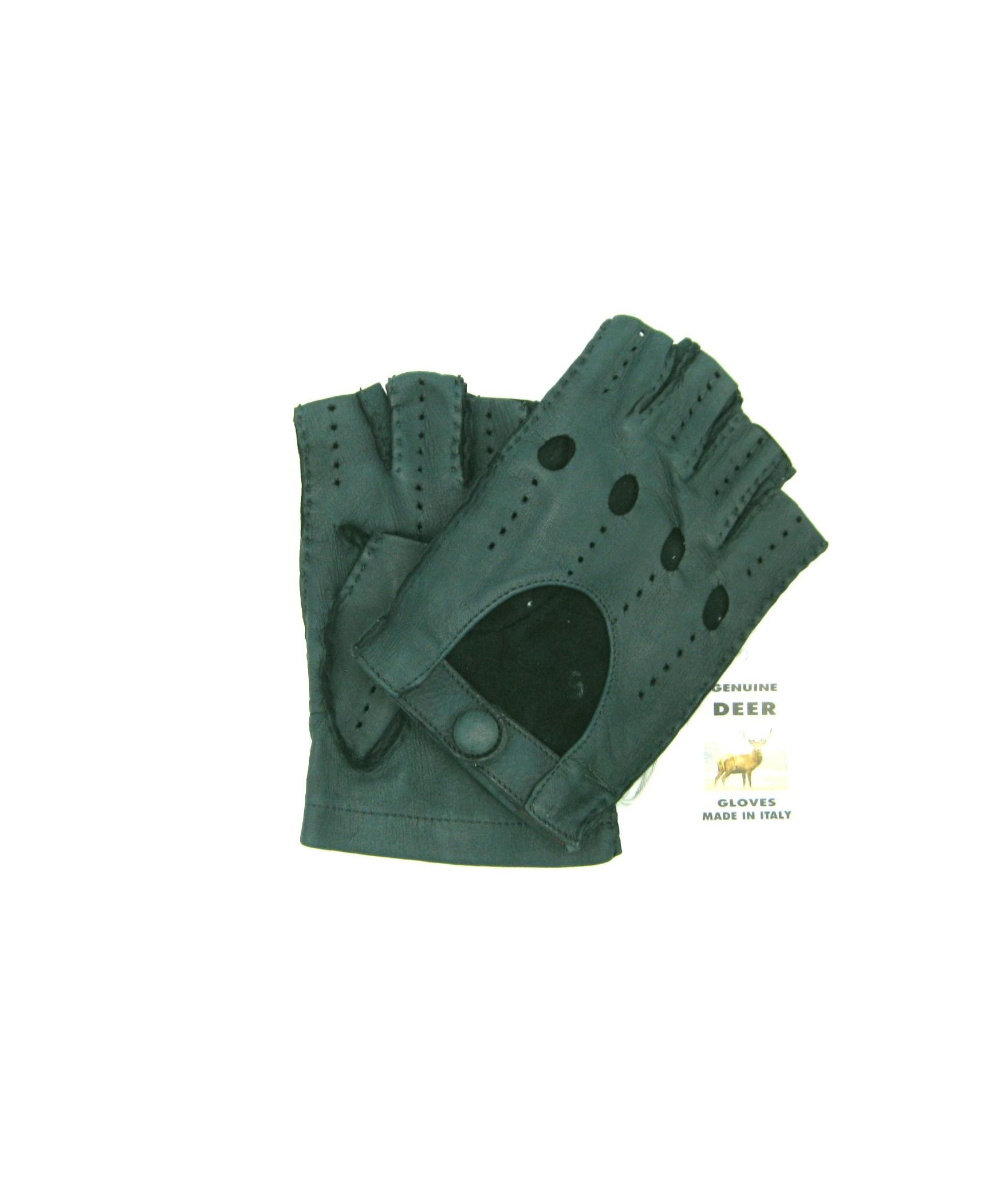 Driving gloves fingerless in Deerskin Green Sermoneta Gloves