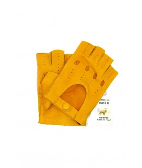 Guanto Guida di Cervo 1/2 dita Giallo ocra Sermoneta Gloves