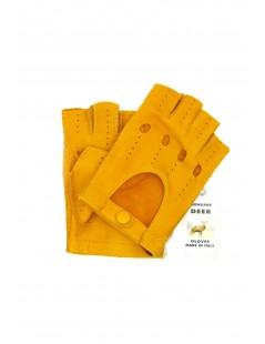 Driving gloves fingerless in Deerskin Ocra Yellow Sermoneta