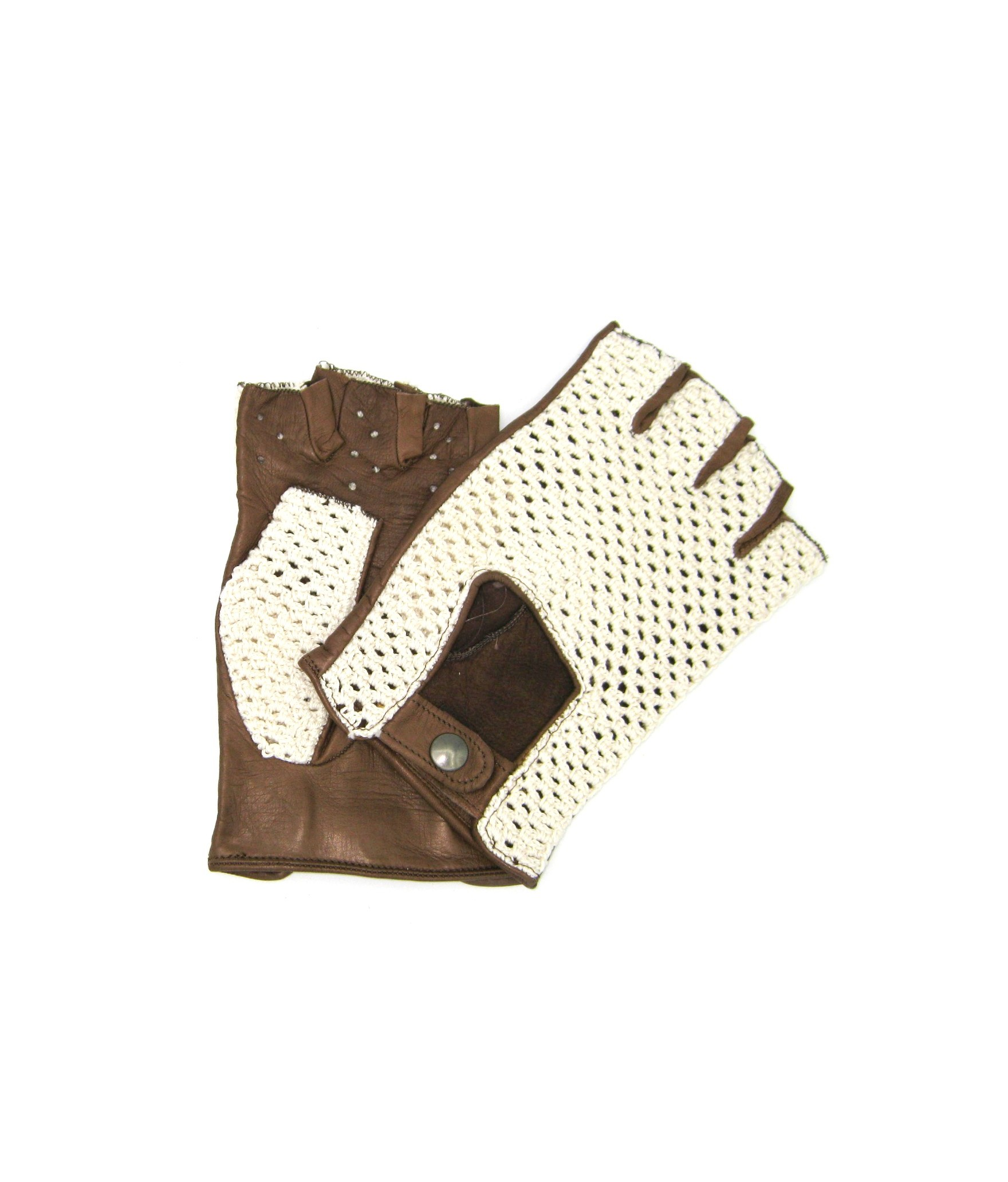 Driving gloves in Nappa leather fingerless with Rope Mud