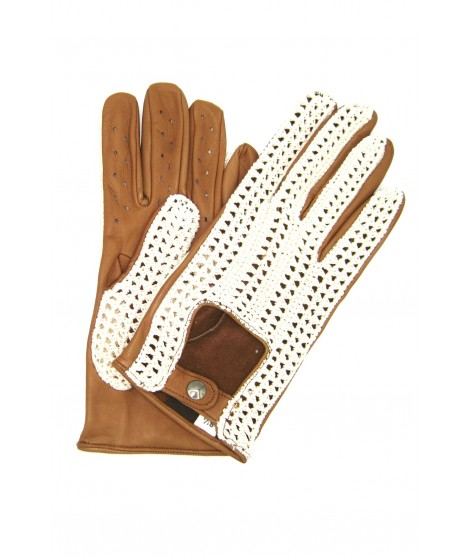 Driving gloves in Nappa leather and Rope Camel Sermoneta Gloves
