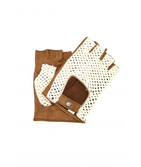 Driving gloves in Nappa leather fingerless with Rope Camel