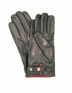 Nappa leather gloves with strap under hand Black/Red Sermoneta