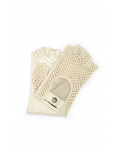 Driving gloves in Nappa leather fingerless with Rope Cream