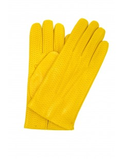Nappa leather gloves 2bt,cashmere lined Yellow Sermoneta Gloves