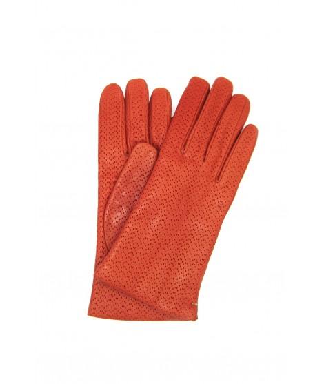Nappa leather gloves 2bt, cashmere lined Dark Orange Sermoneta