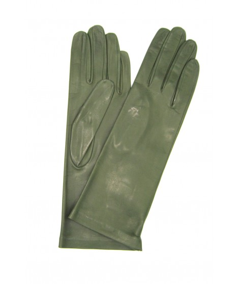 Nappa leather gloves 4bt lined Silk Olive Green Sermoneta