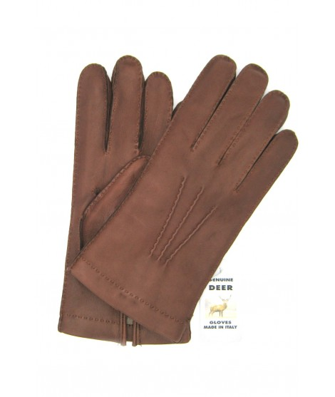 Deerskin gloves with hand stitching cashmere lined Tan