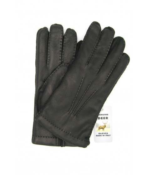 Deerskin gloves with hand stitching cashmere lined Black